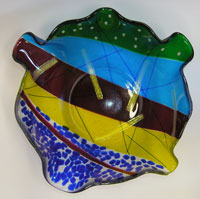 Multi-Colored Slumped Art Glass Bowl